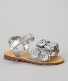 Take a look at this Silver Blossom Sandal by LAmour Shoes on #zulily today!