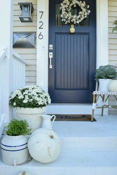 Front door color ideas for tan house nesting with grace navy front door ideas exterior color . Exterior Paint Colors For House, Paint Colors For Home, Beige House Exterior, Paint Colours, White Exterior Paint, Painted Front Doors, Front Door Decor, Door Entry, Entryway