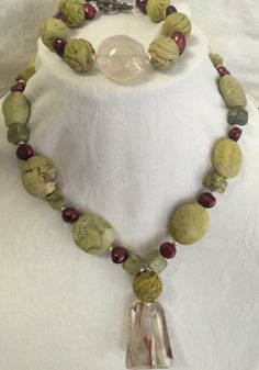 Lime Green Coral Stone Necklace with red pearl accents and matching Bracelet, earrings and quarts pendant FREE SHIPPING