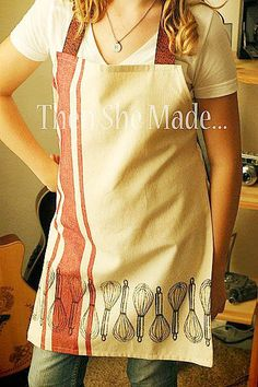 kitchen towel made into an apron