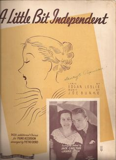 A Little Bit Independent, Vintage Sheet Music, Yellow and Black Cover Art, Jack Carlton and Jeanie Shaw, Music and Lyrics, Piano Accordian by BettywasaBombshell on Etsy