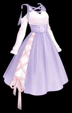 Dress Design Drawing, Dress Drawing, Pretty Outfits, Pretty Dresses, Beautiful Dresses, Anime Outfits, Mode Outfits, Drawing Anime Clothes, Manga Clothes