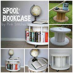 DIY Bookcase from a Cable Spool | iCreativeIdeas.com Follow Us on Facebook --> https://www.facebook.com/icreativeideas