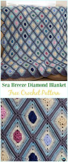 Crochet Sea Breeze Diamond Blanket Free Pattern - #Crochet; Block #Blanket; Free Patterns