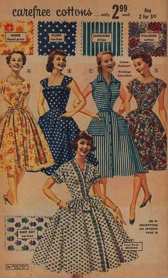 Carefree (beautiful!) 1950s cotton summer dresses. #vintage #1950s #fashion 50s fashion ad dress color full skirts