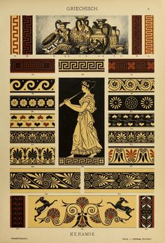 """Greek Pottery Wine amphora, drinking vessels and vases. """"The oldest Greek vases are the most simply decorated; on a light ground colour of clay… Greek History, Ancient History, Art History, Ancient Greek Art, Ancient Greece, Greece Art, Greek Pattern, Greek Design, Art Antique"""