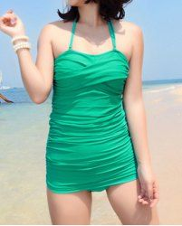 $15.70 Beam Waist Halterneck Plicated Solid Color Swimwear For Women