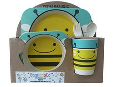 Bambinoco eco friendly natural bamboo fibre dinning sets to make kids mealtimes fun Bee -- Want to know more, click on the image.-It is an affiliate link to Amazon.