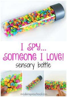 """Super simple """"I Spy Love"""" Sensory Bottle for toddlers, preschoolers, and Valentine's Day!"""