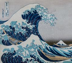 Katsushika Hokusai, La grande vague au large de Kanagawa  http://casaprints.com/fr/179-katsushika-hokusai Japanese Waves, Japanese Prints, Tile Art, Tiles, Great Wave Off Kanagawa, Katsushika Hokusai, Vintage Japanese, Woodblock Print, Art Prints