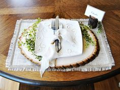 Burlap placemat with frayed edges and by RoxyHeartVintage on Etsy