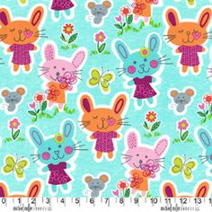 Some Bunny Loves You On Aqua Background,100% Cotton Fabric By Michael Miller