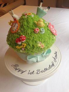 Homemade Alice in Wonderland inspired giant cupcake birthday cake.