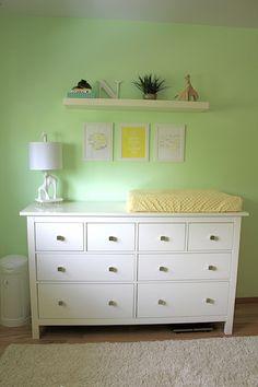Nolan's Modern Mint Nursery Mint Nursery, White Nursery, Nursery Neutral, Mint Baby Shower, Gender Neutral Baby Shower, Baby Boy Rooms, Baby Room, Kids Rooms, Changing Table Dresser