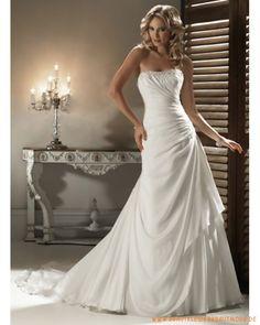Prinzessin klassische Brautmode aus Chiffon schulterfreier verzierter Ausschnitt mit faltigem Korsett Schmaler A-Linie Rock