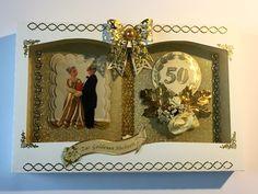 Jubiläum - Buchkarte Goldhochzeit mit Schachtel Nr. 609 - ein Designerstück von MM-Bastelparadies bei DaWanda Frame, Etsy, Home Decor, Gold Weddings, Special Gifts, Cash Gifts, Newlyweds, Things To Do, Picture Frame