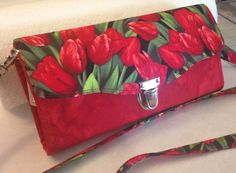 Necessary clutch wallet. Red tulips