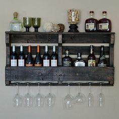 Rustic Wall Mountable Hanging Wine Racks   VinoGrotto Large Pallet Wall-Mounted Wine Rack (Espresso Walnut Finish), Espresso Walnut