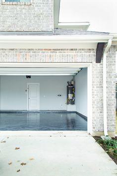 Our DIY Rust-Oleum RockSolid Garage Floor – Love & Renovations Rustoleum Garage Floor Epoxy, Garage Floor Paint, Epoxy Floor, Concrete Garages, Concrete Floors, Garage Floor Coatings, Garage Interior, Floor Wallpaper, Painting Concrete