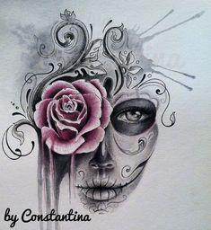 Risultati immagini per sugar skull girl tattoo Sugar Skull Mädchen, Sugar Skull Girl Tattoo, Sugar Tattoo, Sugar Skull Sleeve, Girl Skull, Mädchen Tattoo, Tattoo Drawings, Body Art Tattoos, Thigh Tattoos
