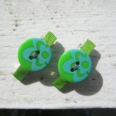 Green & Teal Button Barrette Set by miabebe1 on Etsy, $8.50