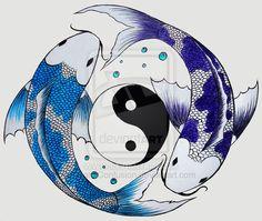 yin-yang koi fish by KatieConfusion.deviantart.com on @deviantART