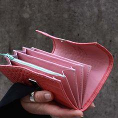 kroko portemonnaie koralle pink