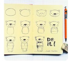How to easily draw a teddybear. Do it! :) From IG.