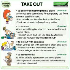 TAKE OUT - English Phrasal Verb with meanings and example sentences.