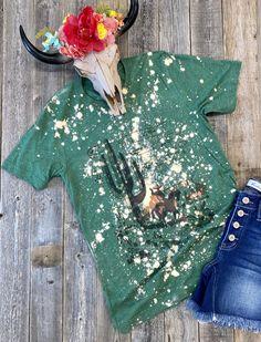 The Bleached Out Cactus T-Shirt – Lazy JM Boutique Bleach Shirt Diy, Diy Shirt, Bleach Color, 3 Things, Lazy, Tees, Shirts, Cactus, Boutique