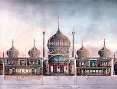 Royal Pavilion, from John Nash's Views of the Royal Pavilion, Brighton, Brighton Rock, Brighton England, Brighton And Hove, Pavilion Architecture, Amazing Architecture, Art And Architecture, Royal Pavilion, Circus Art, Regency Era