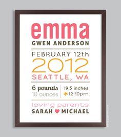 Custom Birth Print 11x14 Nursery Wall Art Print (baby name and birth stats) pink & orange. $36.00, via Etsy.