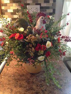 Rooster Flower Arrangement. by LSJHomeDecor on Etsy https://www.etsy.com/listing/219647102/rooster-flower-arrangement