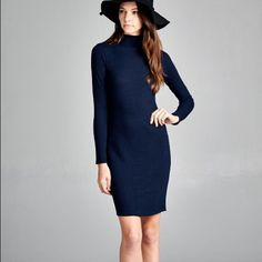 """""""To Ice"""" Long Sleeve Mock Neck Sweater Dress Navy blue long sleeve mock neck sweater dress. Only available in this color. Brand new with tags. NO TRADES. Bare Anthology Dresses Mini"""