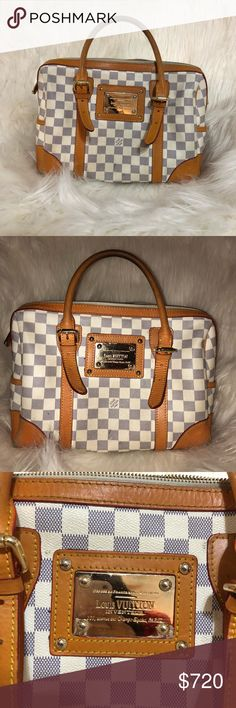 Louis Vuitton Damier Azur Berkeley Bag lightly used but well maintained authentic Louis Vuitton Berkeley bag, has original champs elysees name plate. Slight fading on corners and top handle as seen in photos, but otherwise interior and exterior leather are in great shape. Excepting offers because I want to sell within the week. I ship out next day. DU2046 is date code. Louis Vuitton Bags Shoulder Bags