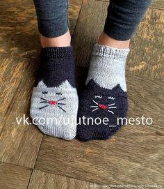 Следки спицами 'YinYang Kitty Ankle Socks' by Geena Garcia