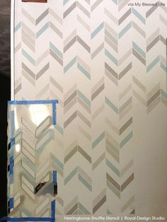 Dressing room - How to Stencil a Wall with Herringbone Stencil