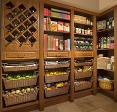 Ideas for our pantry. Need small baskets for potatoes breads etc. storage for smaller appliances and easy ways to store r's Pepsi. Mostly cans and cereal after that.