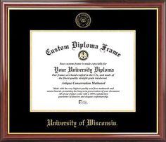 University of Wisconsin Diploma Frame - Embossed Seal - Mahogany Gold Trim