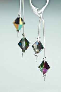 Crystal Earrings / Swarovski Crystal Dangle Chain by DevikaBox, $29.00