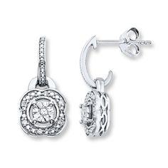 Flower Dangle Earrings 1/15 ct tw Diamonds Sterling Silver