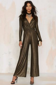 Oh My Love Jump Around Metallic Jumpsuit - Party Shop Prom Jumpsuit, Gold Jumpsuit, Pleated Jumpsuit, Jumpsuit Dressy, Glitter Outfit, Glitter Clothes, Metallic Jumpsuits, Monday Dress, Holiday Party Dresses