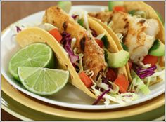 Fish Tacos with Slaw & Spicy Greek Yogurt