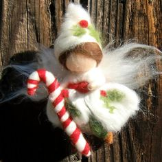 Christmas Ornament  Needle Felted Holly Fairy Boy by Nushkie, $30.00