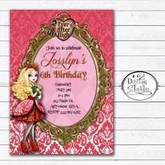 Apple White Ever After High Party Invitation by Plus2DesignStudio, $12.00