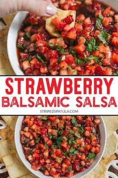 summer recipes Love summer fruit salsa This Strawberry Balsamic Salsa recipe is a healthy and delicious warm weather treat. An easy way to use fresh berries! Easy Summer Meals, Healthy Summer Recipes, Easy Meals, Easy Recipes, Strawberry Salsa, Strawberry Balsamic, Strawberry Summer, Salsa Aux Fruits, Fruit Salsa Recipes