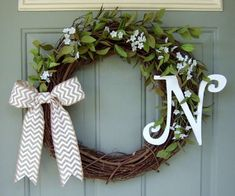 Monogrammed Wreath - Summer Wreath - Fall Wreath - Wreath with Monogram Initial This is an 18 inch round grapevine wreath with a fancy style of Front Door Decor, Wreaths For Front Door, Door Wreaths, Grapevine Wreath, Cute Crafts, Diy And Crafts, Arts And Crafts, Monogram Wreath, Monogram Initials