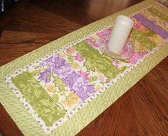 Quilted Table Runner for Spring Green and by QuiltSewPieceful