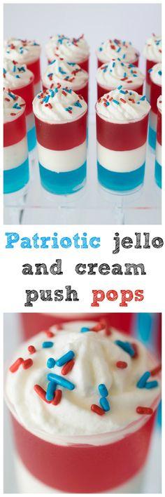 Patriotic jello and cream push pops