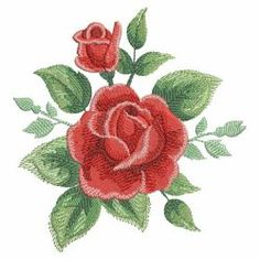 Watercolor Red Roses(Sm) machine embroidery designs